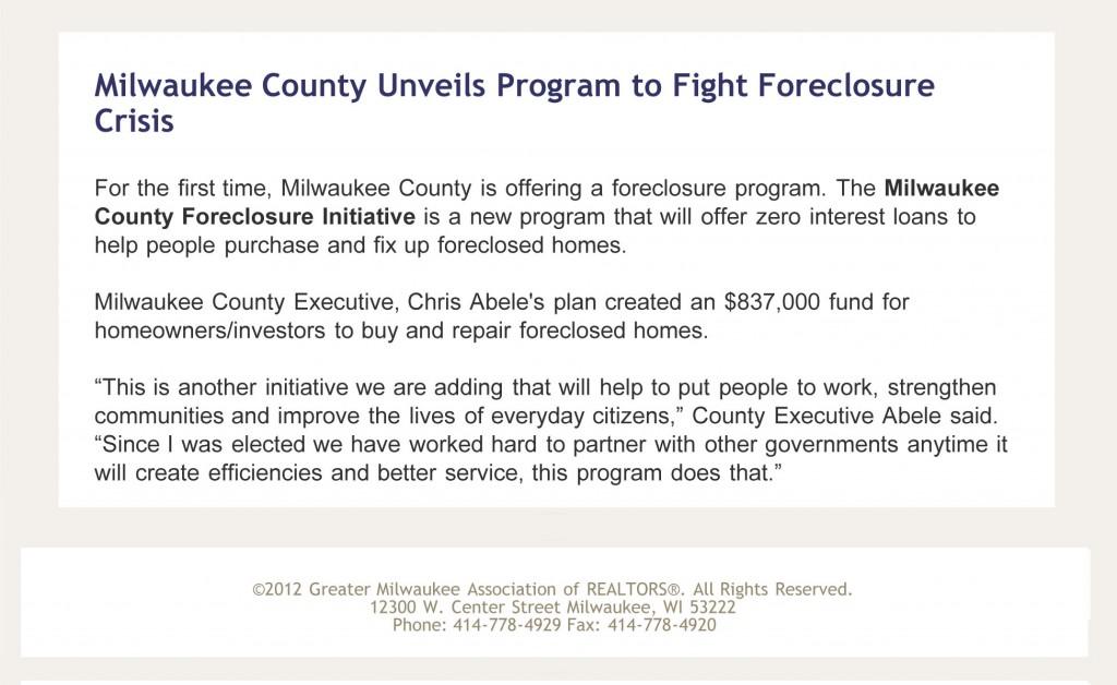 Milwaukee County Unveils Program to Fight Foreclosure Crisis